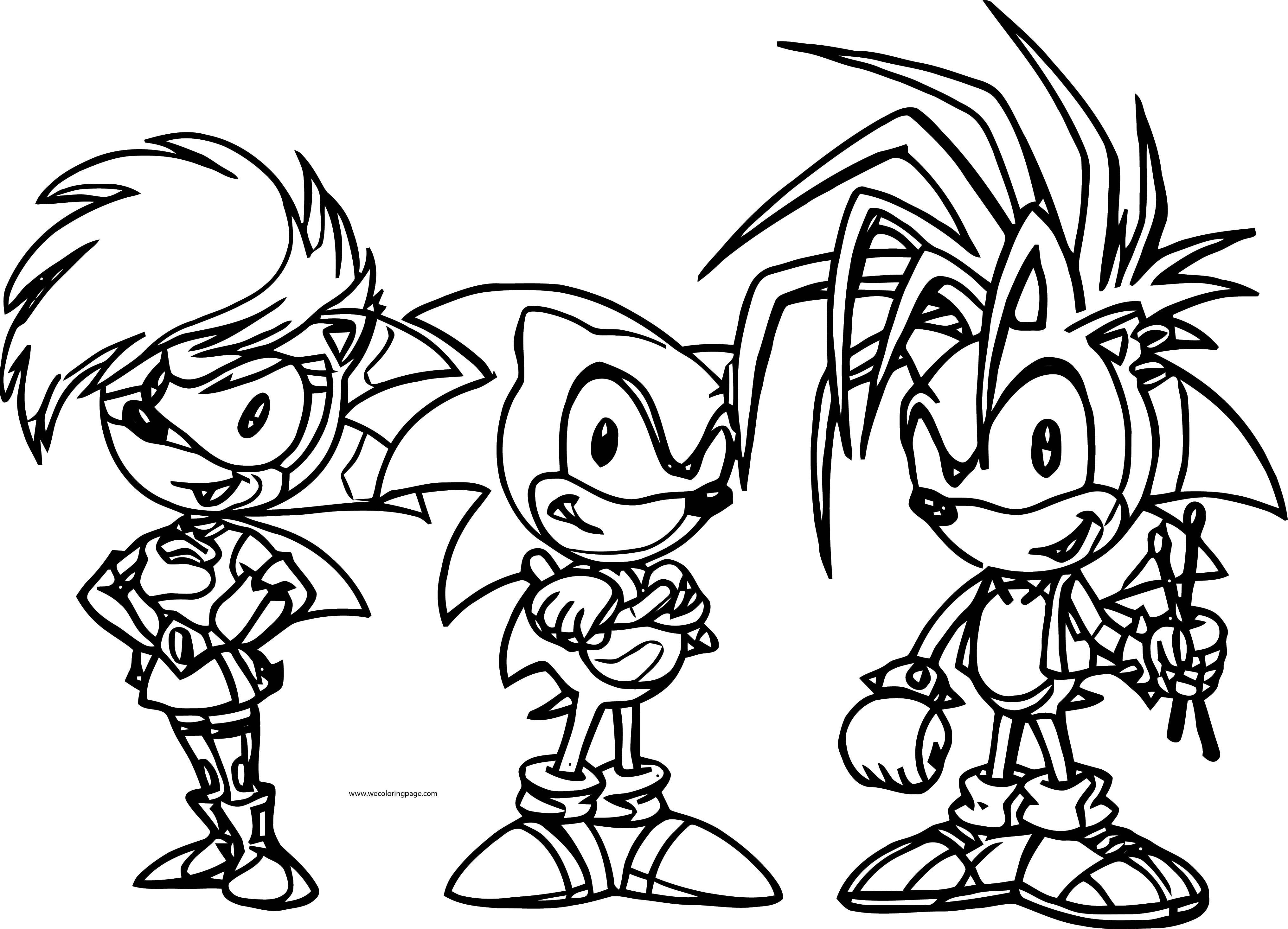 Three friends sonic the hedgehog coloring page for Sonic the hedgehog and friends coloring pages