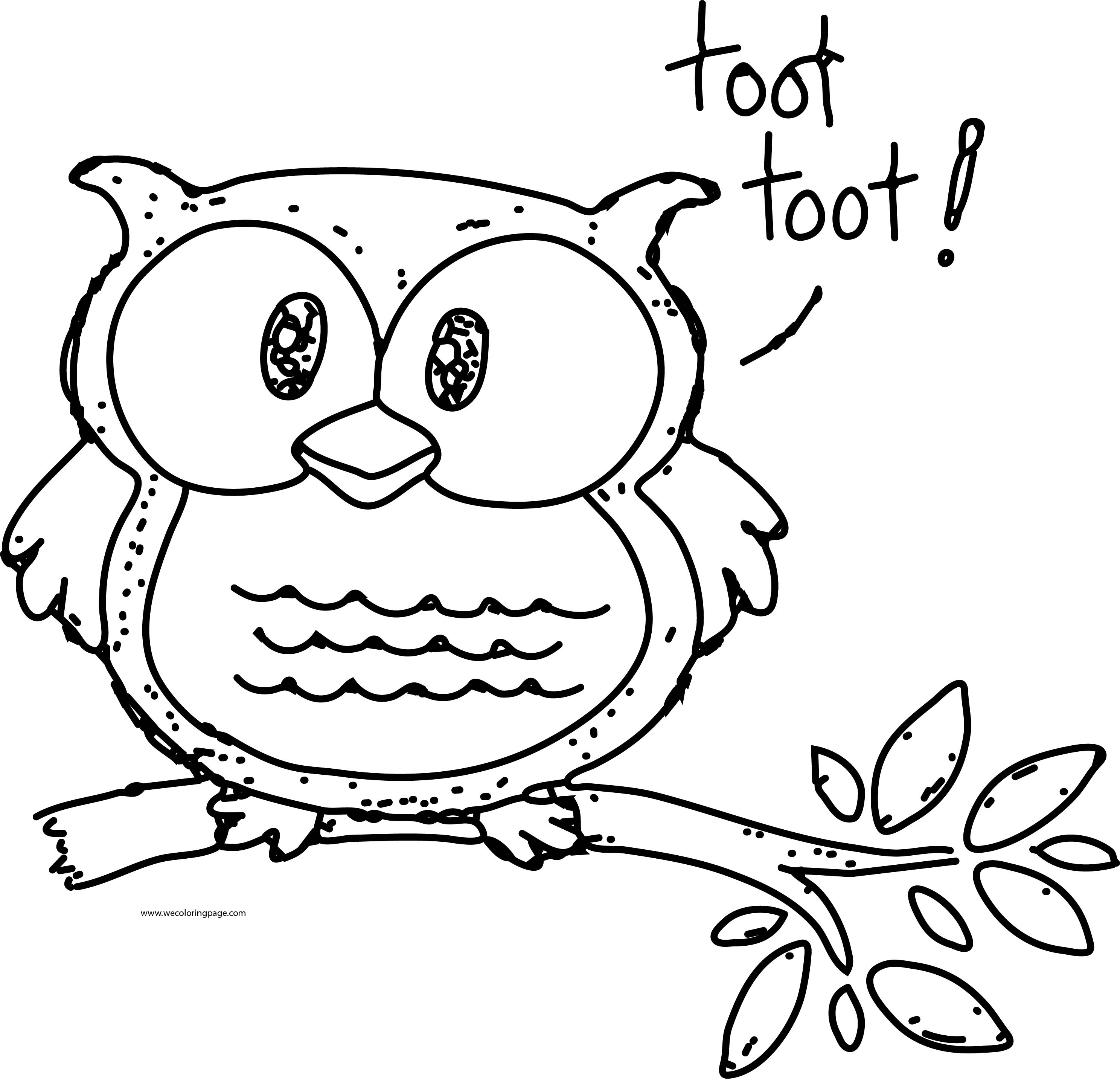 Toot Toot Cute Owl Coloring Page