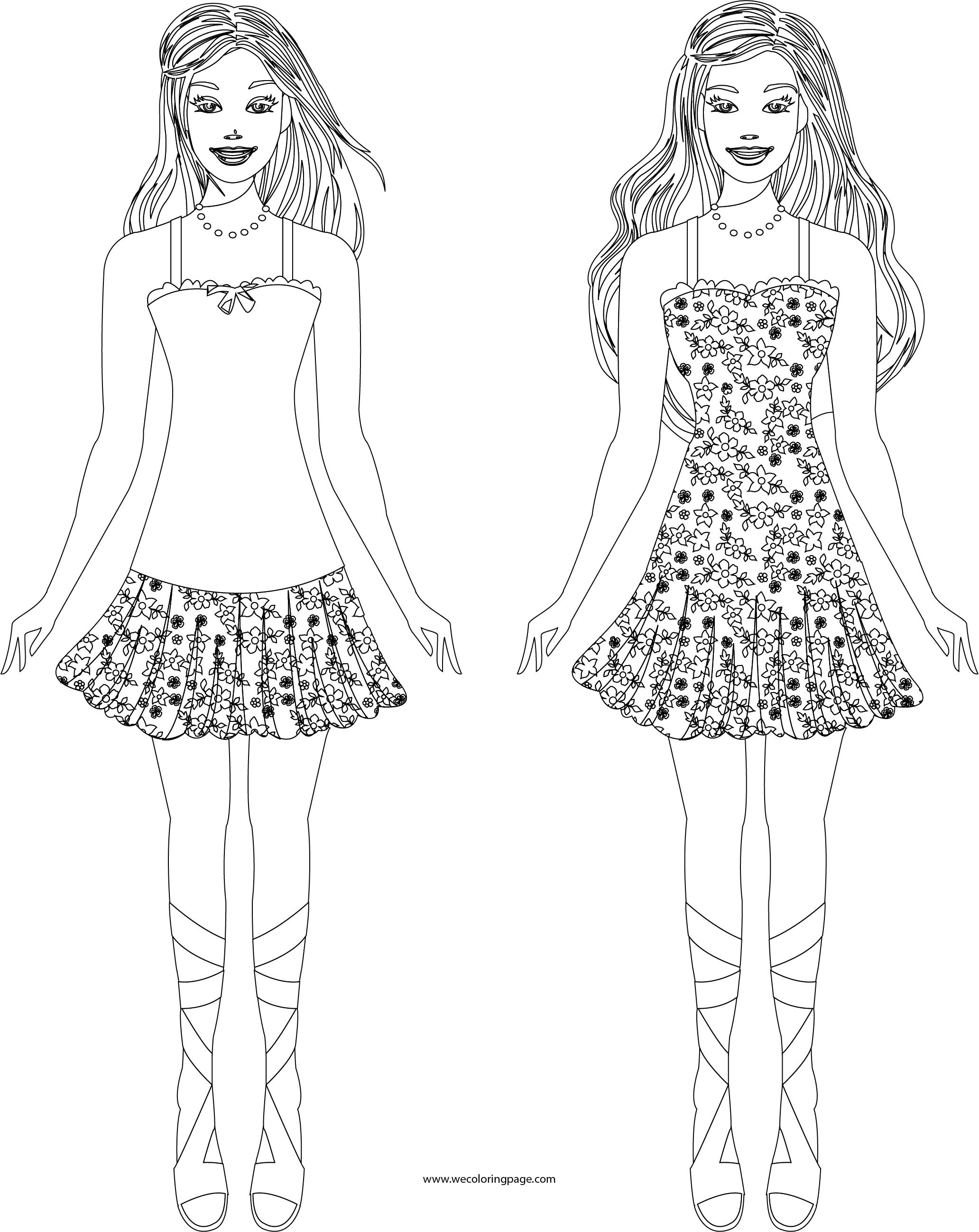 Two Free Barbie Doll Girl Coloring Page