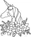 Unicorn Girl Face Flower Coloring Page