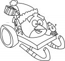Angry Birds Chrismas Snow Slide Car Coloring Page