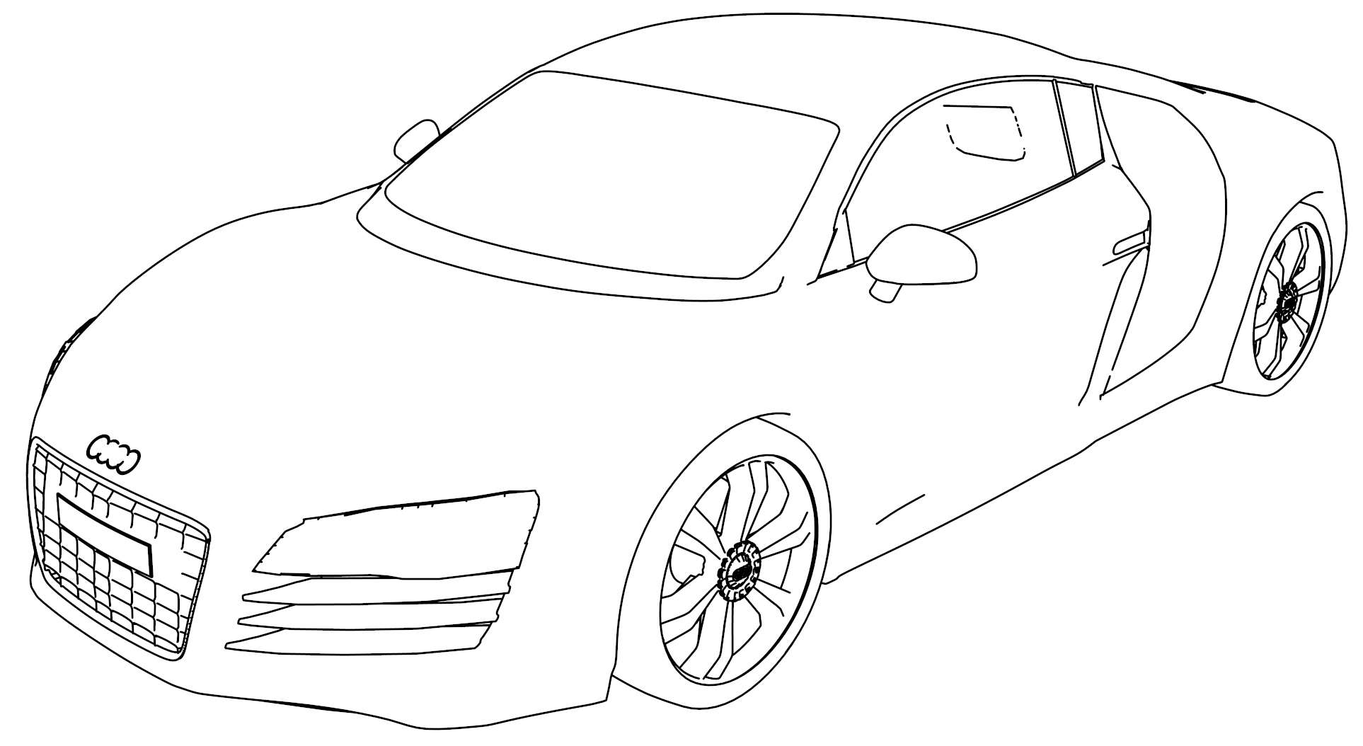 Audi R8 Coloring Page Perspective
