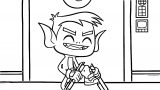 Beast Boy Breaking The Staff Into Four Coloring Page