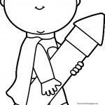 Boy Hold Pen We Coloring Page