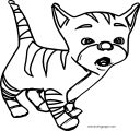 Cartoon Cute Sweet Cat Coloring Page