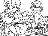 Chhota Bheem And Monkey Coloring Page