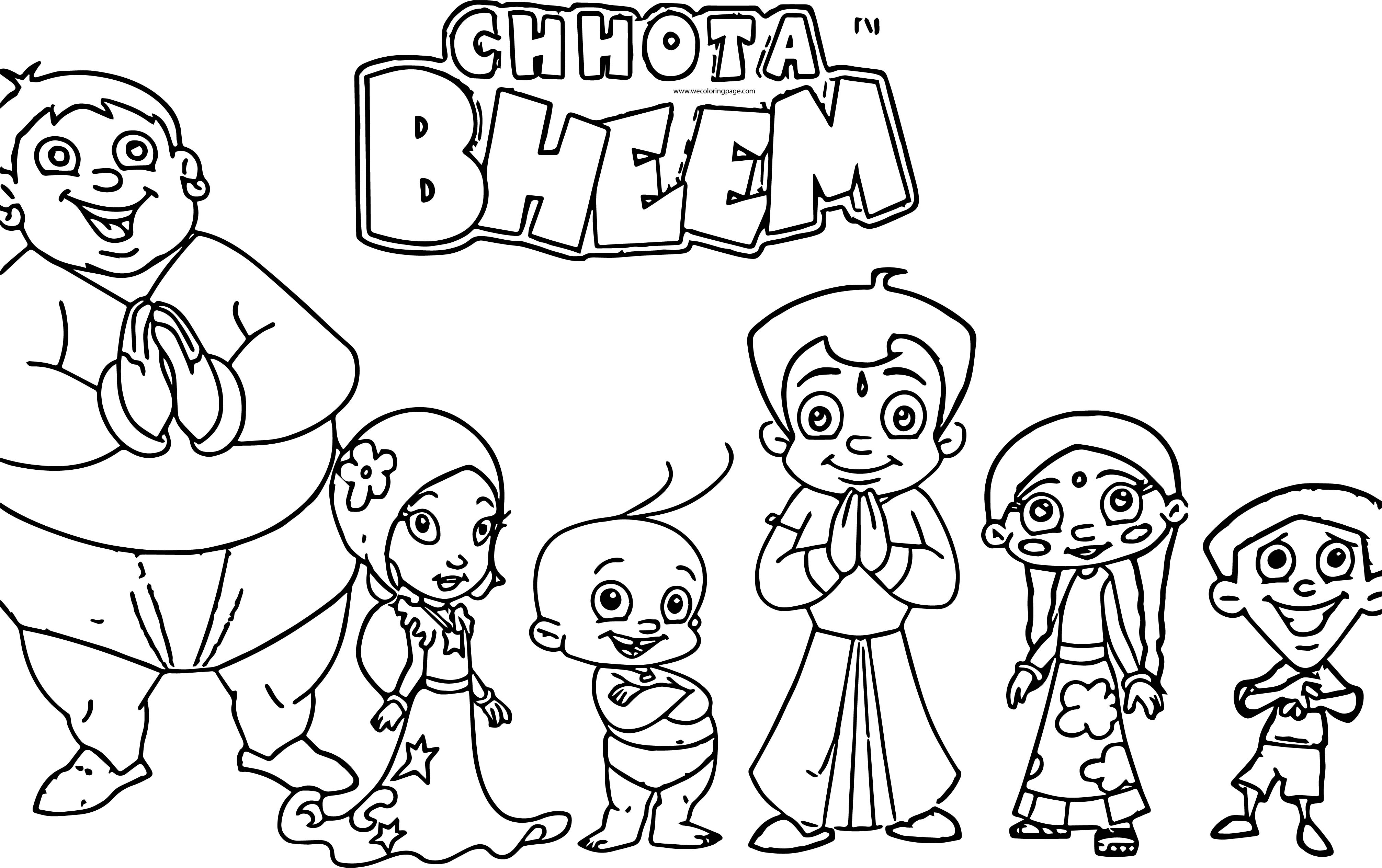 Chhota Bheem Friends Together Coloring Page