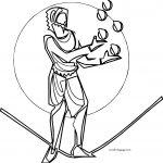 Circus Man Coloring Page Playing Ball