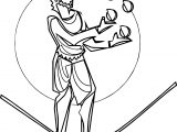 Circus Man Coloring Page Playing Ball
