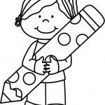 Cute Girl Pen Coloring Page