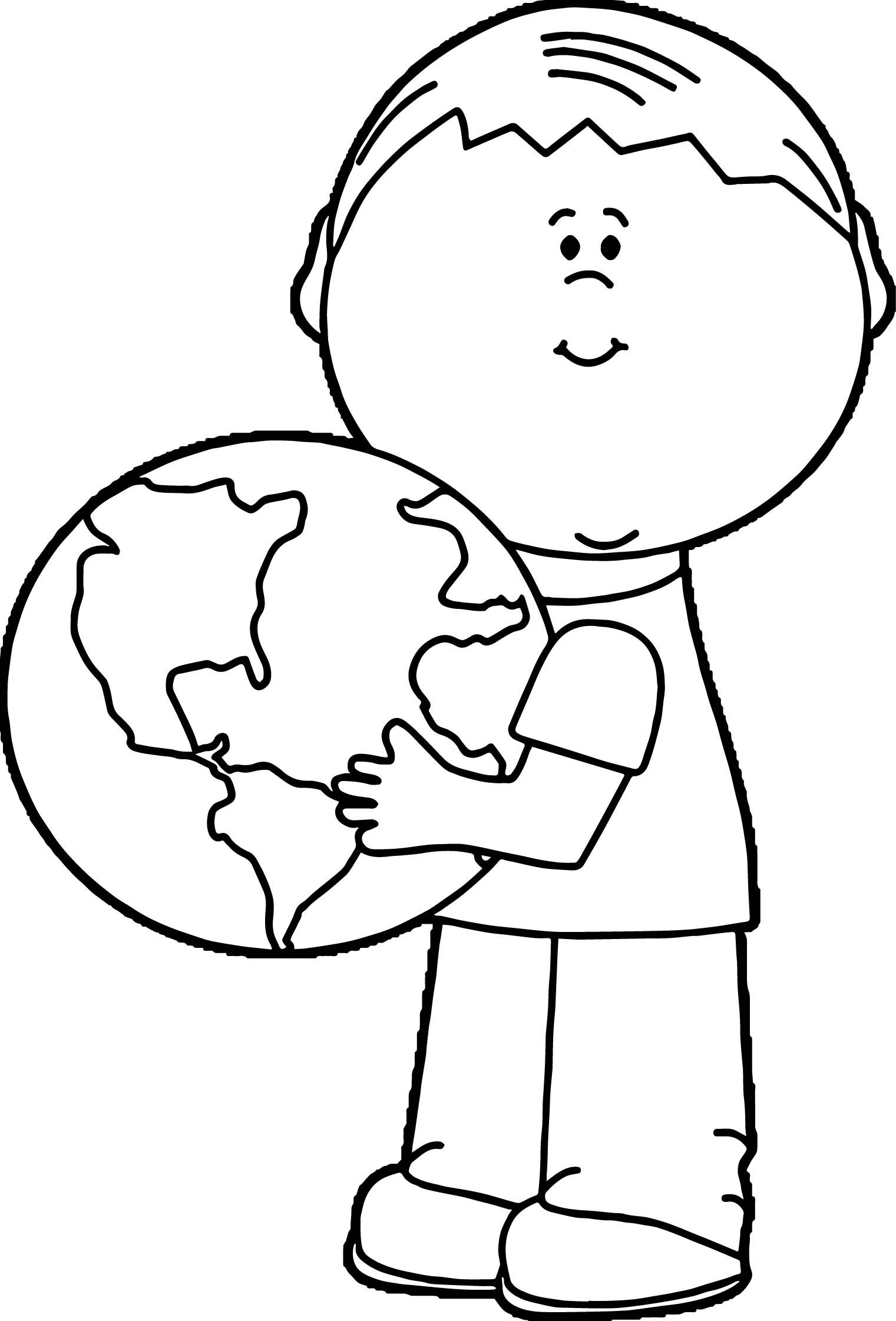 Earth Globe World Hold On Boy Coloring Page