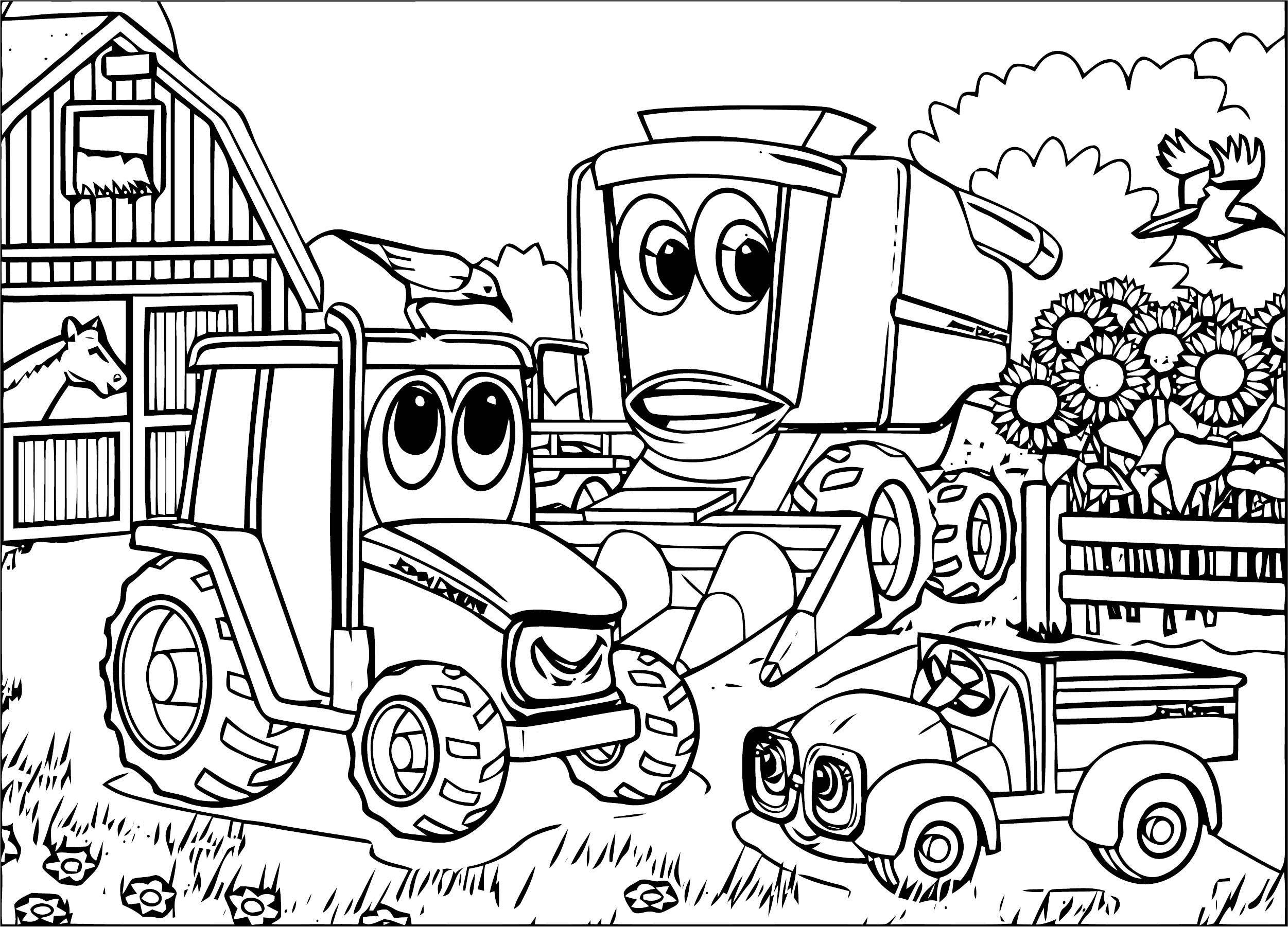 John johnny deere tractor farm coloring page for Johnny tractor coloring pages