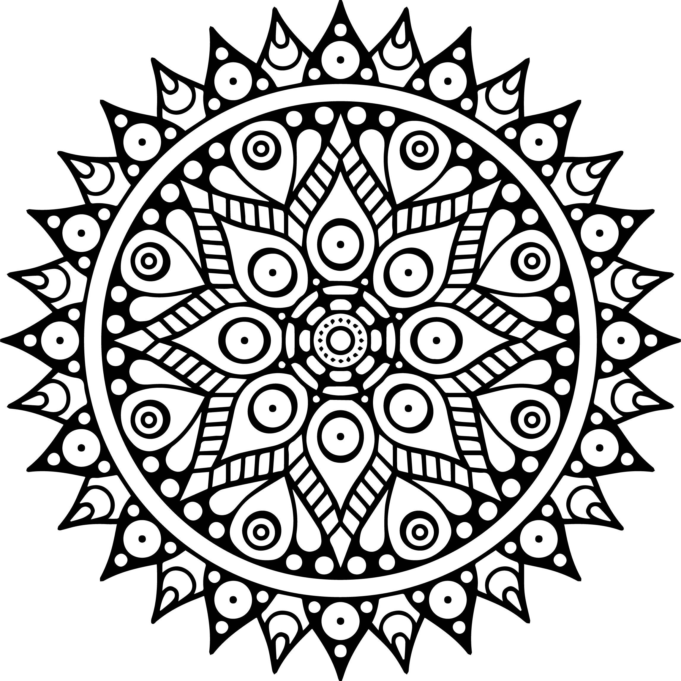 Mandala Buddhism Icon Multicolored Mandala Coloring Page ...