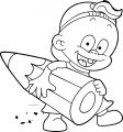Pen Cute Child Carrying Pencil Coloring Page