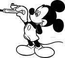 Pen Holding Mickey Mouse Coloring Page