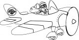 Plane Cartoon Boy Fly Coloring Page