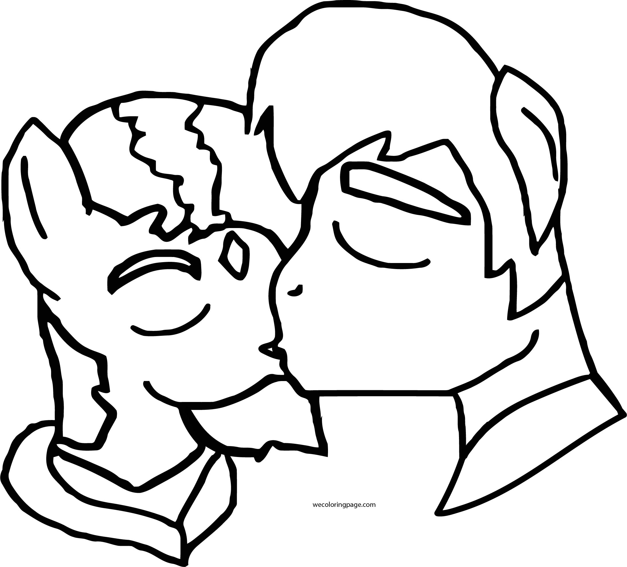 Teen Titans Go Beast Boy And Raven Kissing Coloring Page