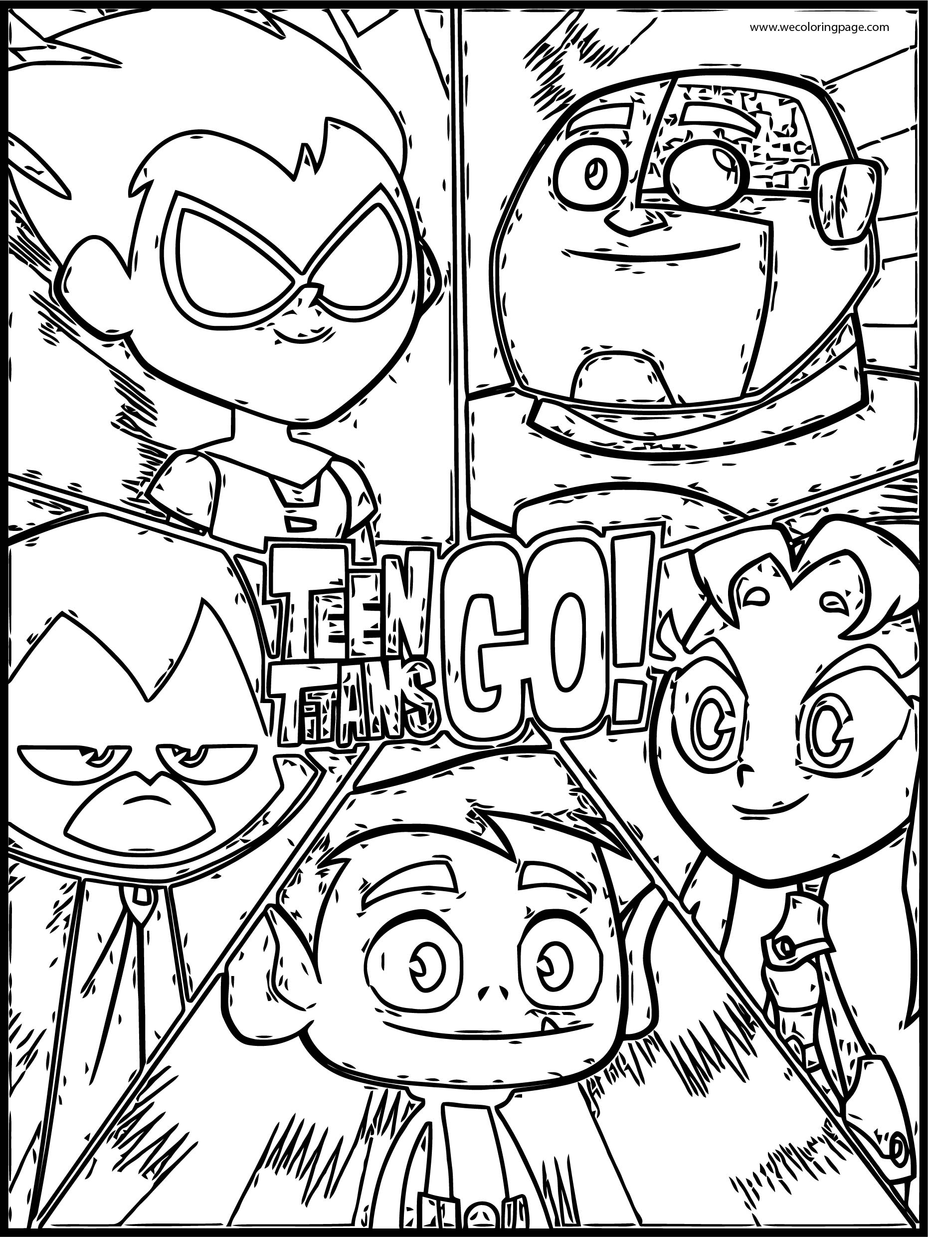 Teen Titans Go Sketch Sheet Coloring Page Download