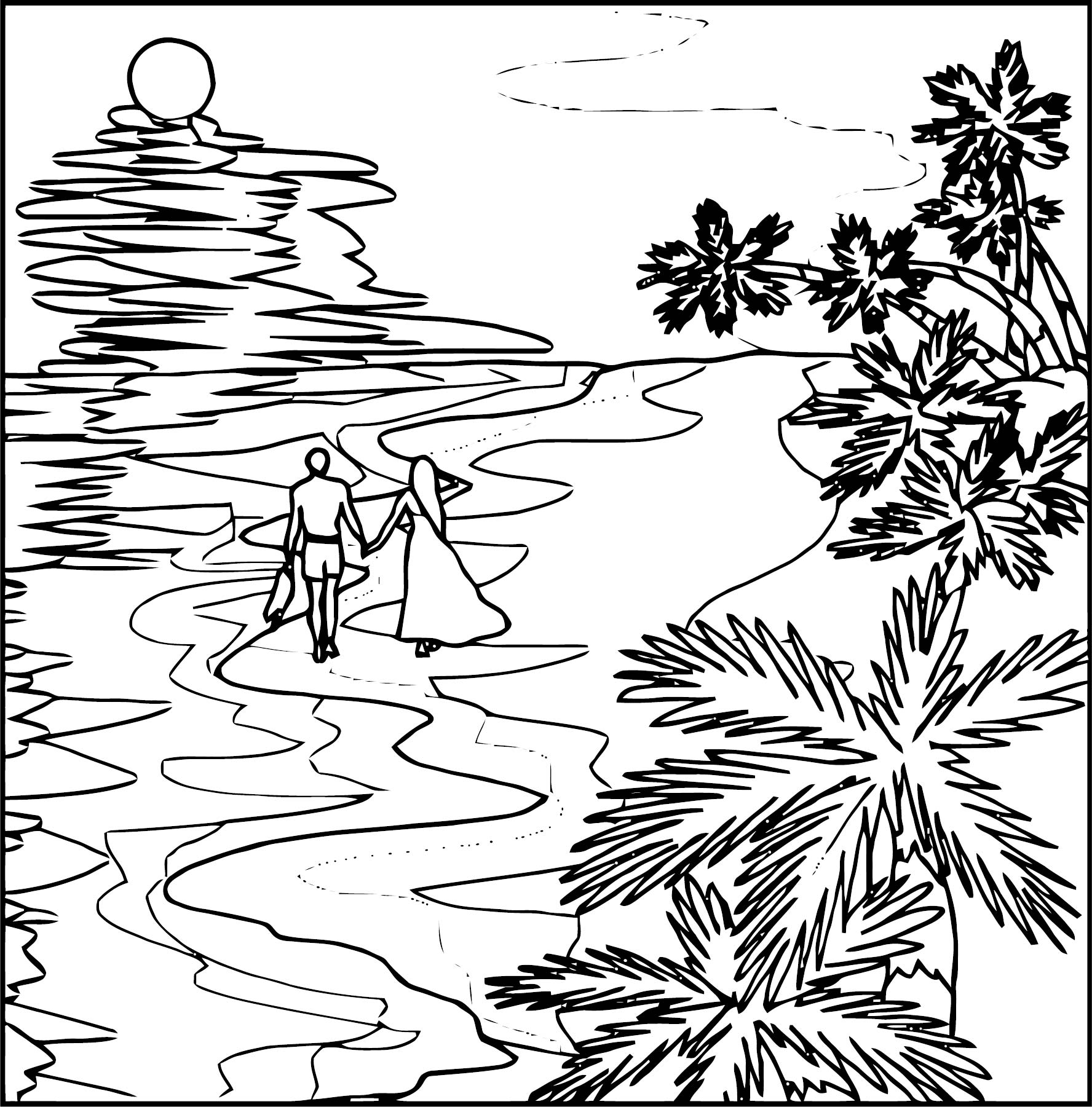Art Moodscpe Landscape Coloring Page 3
