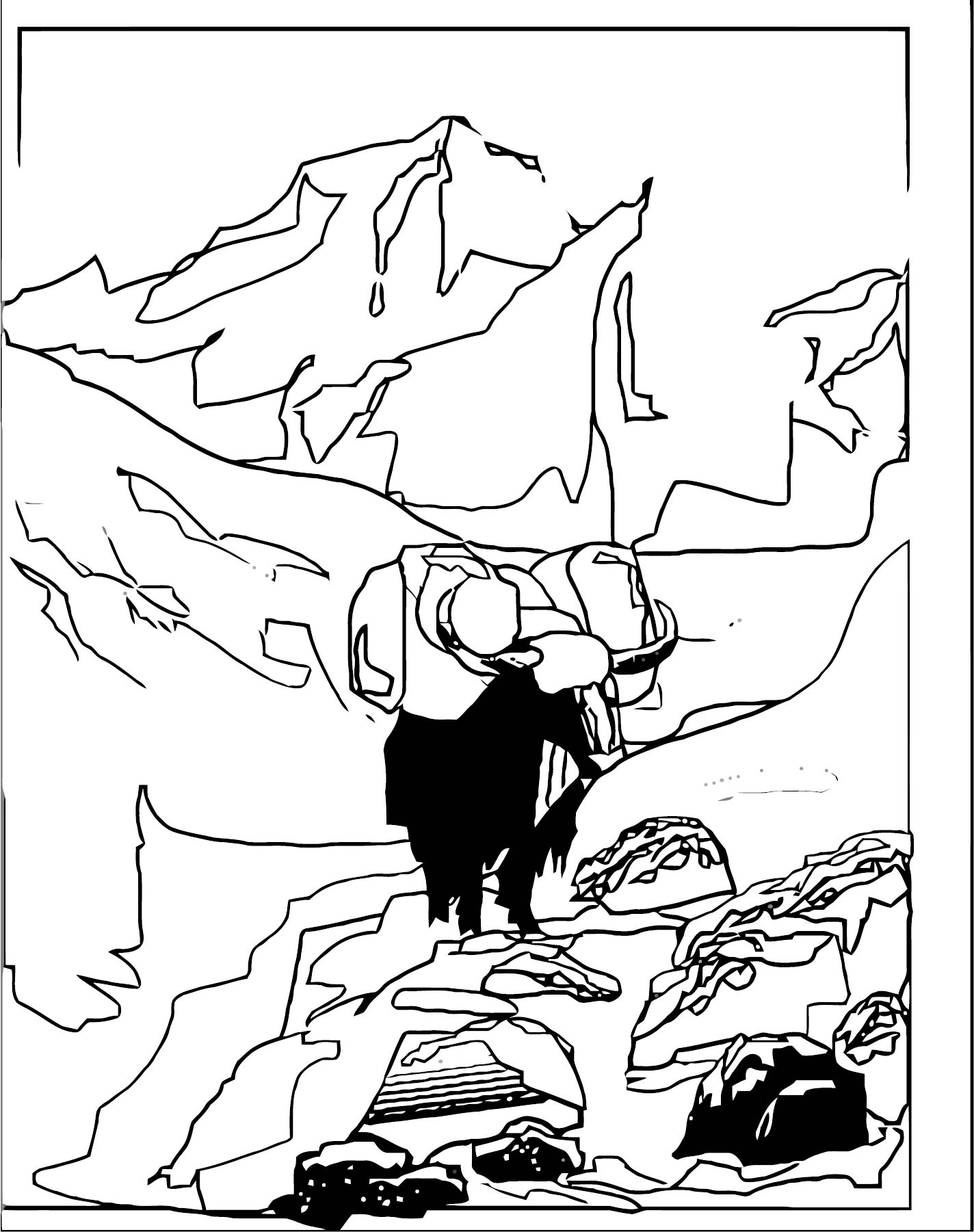 Art Mountain Landscape Coloring Page 3