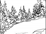 Art Mountain Landscape Coloring Page 4