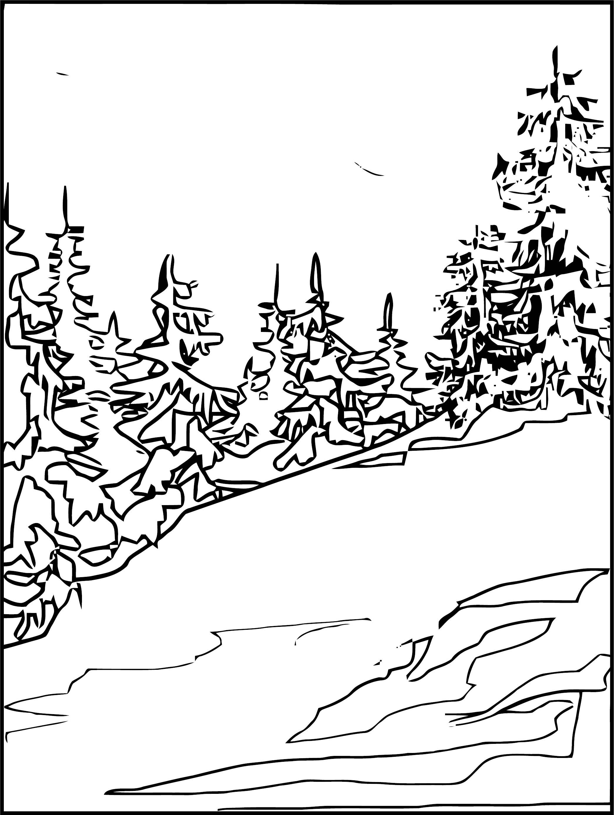 Art Mountain Landscape Coloring Page 4