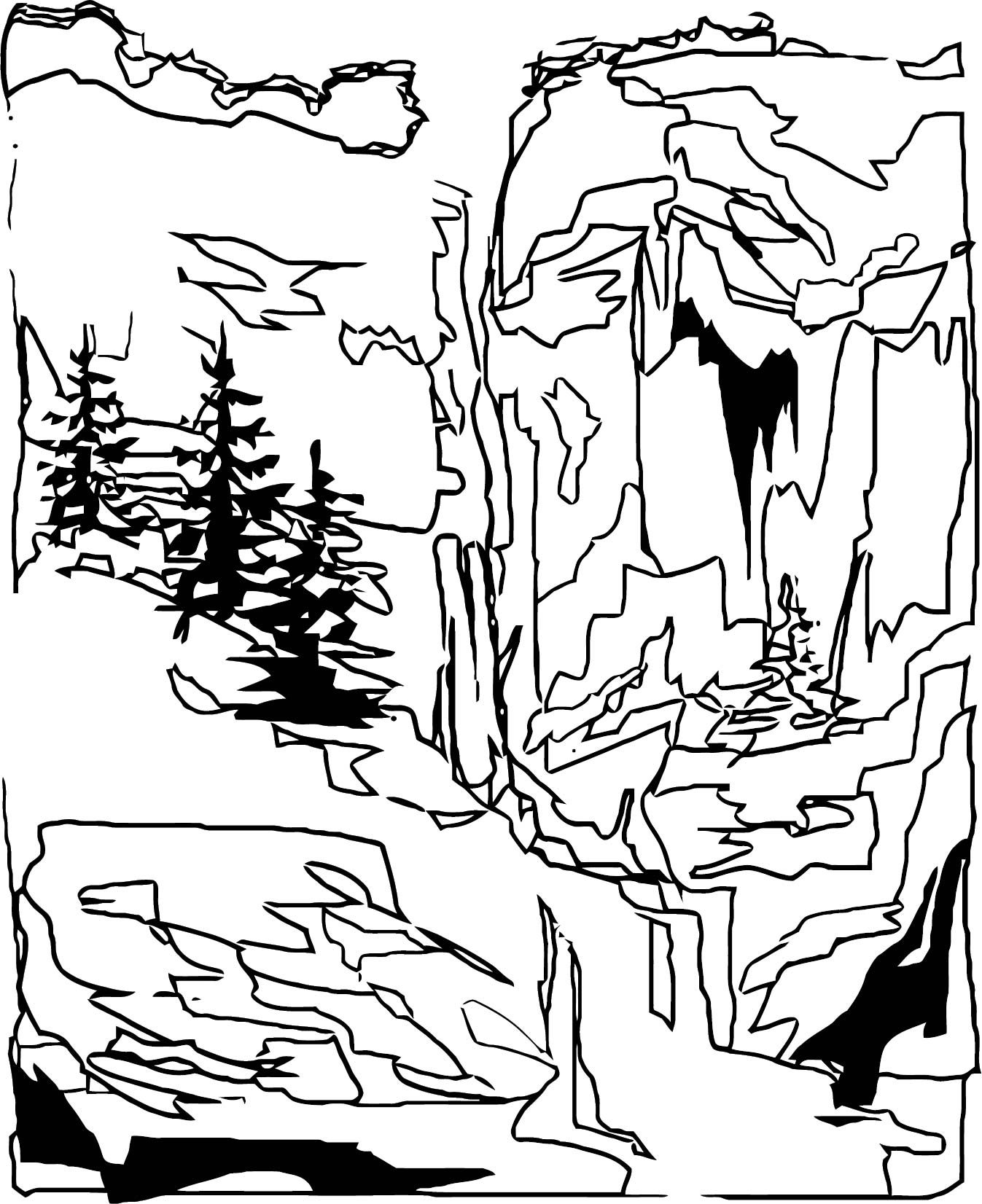 Art Mountain Landscape Coloring Page 5