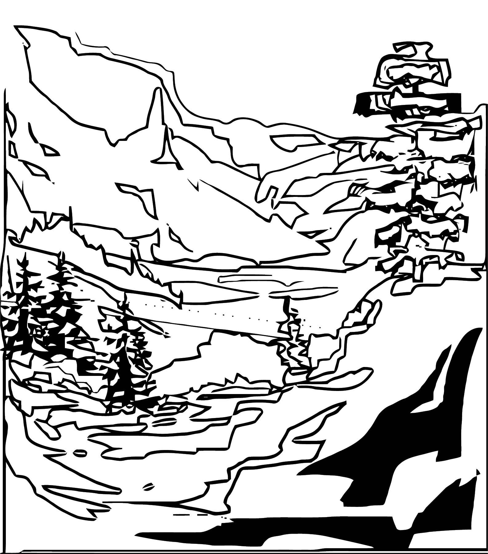 Art Mountain Landscape Coloring Page