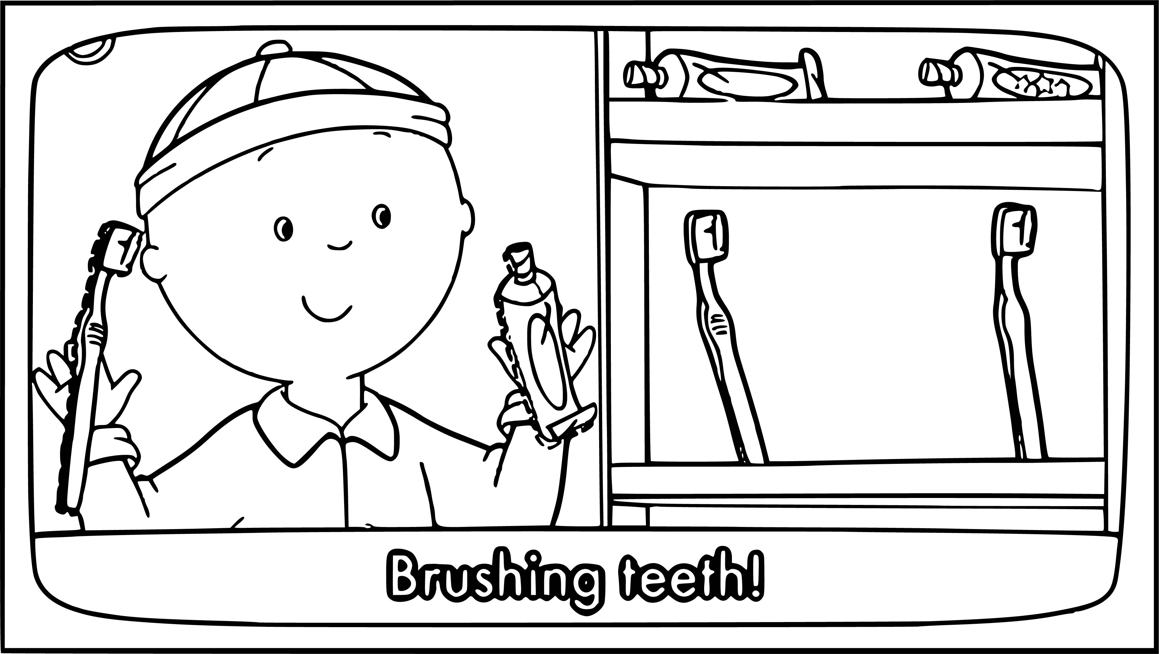 Caillou Coloring Page Brushing Teeth