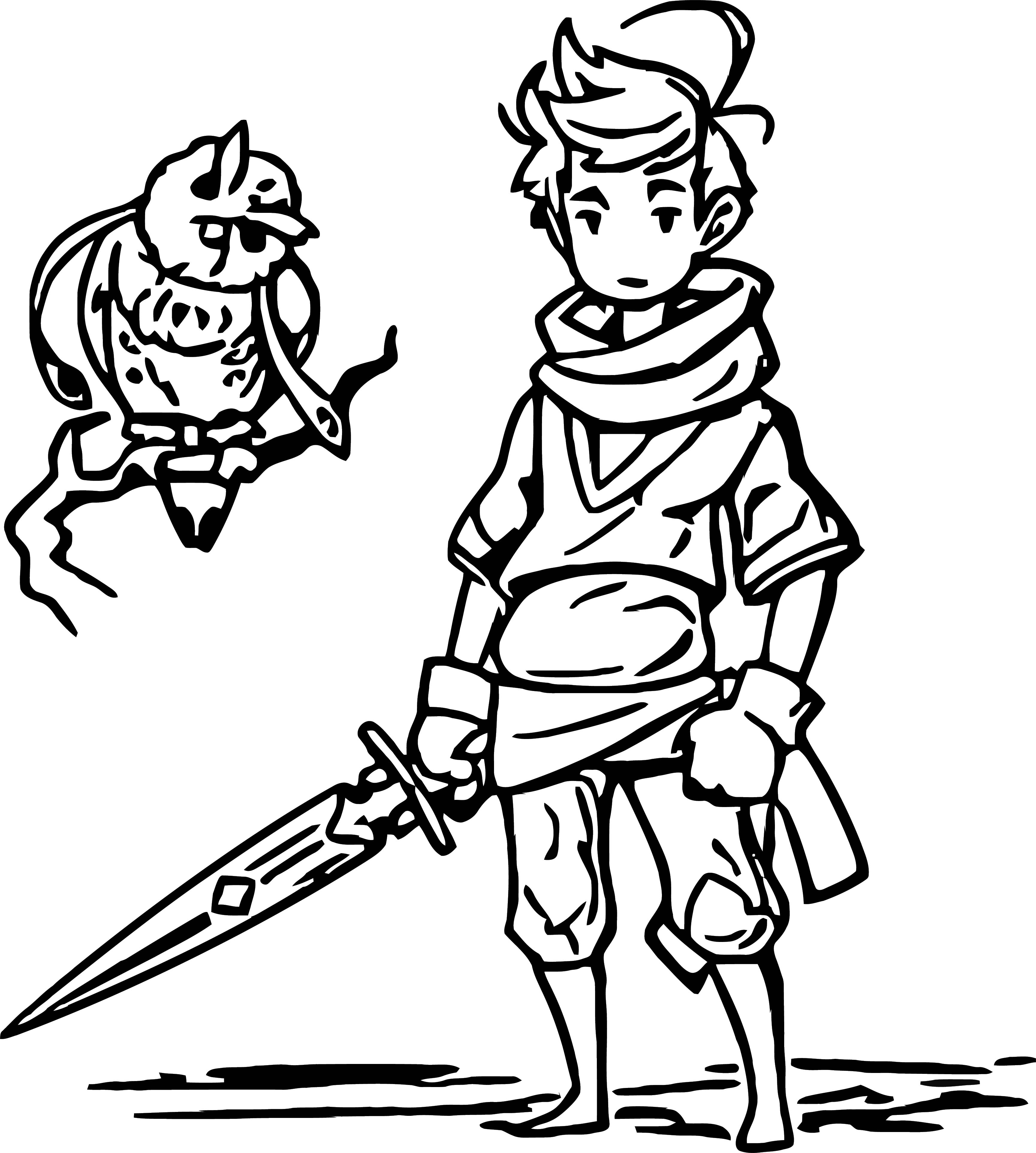 Character Design Hero And Mysterious Owl Coloring Page