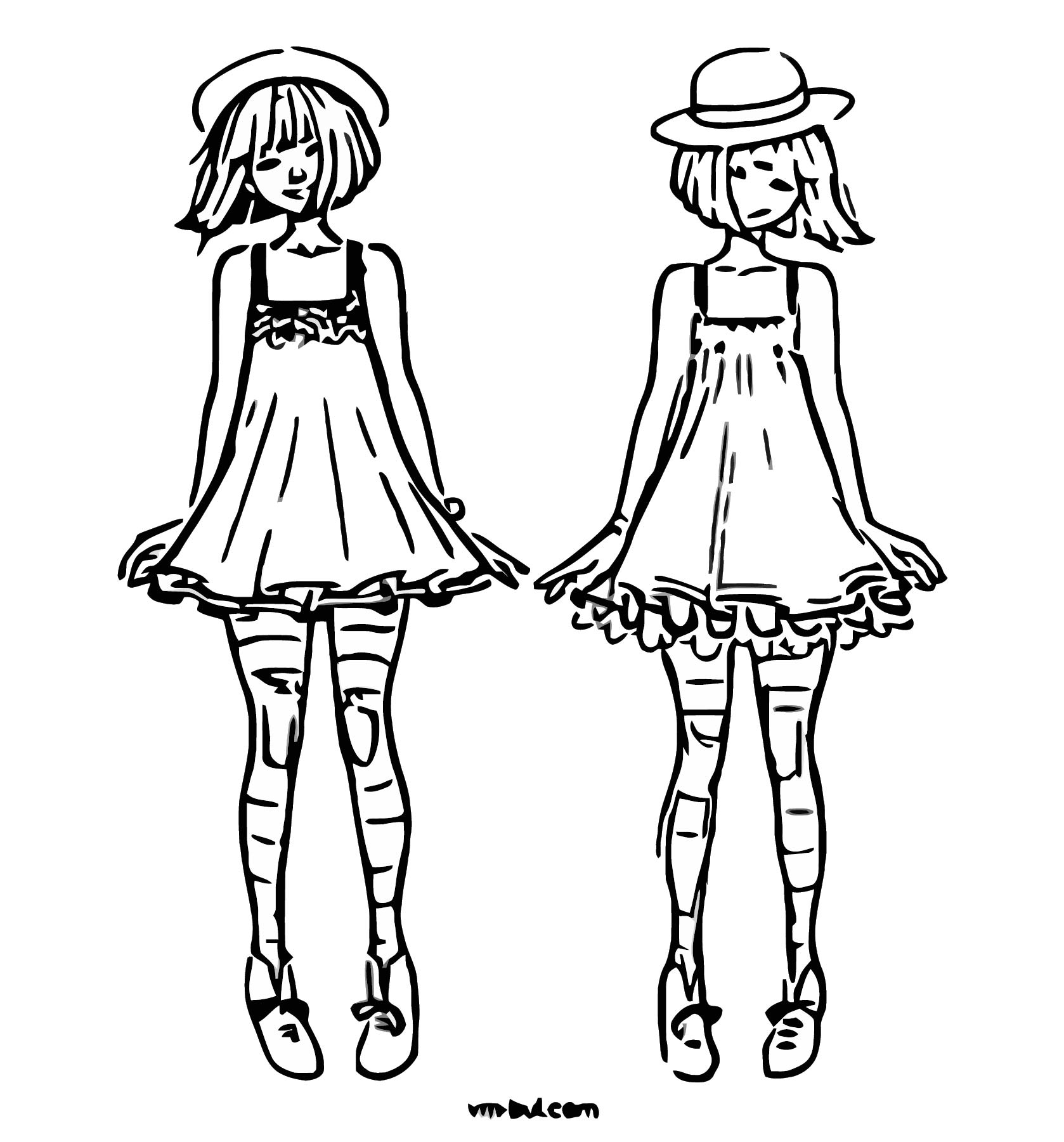 Character Design Quirky Magical Girl Coloring Page