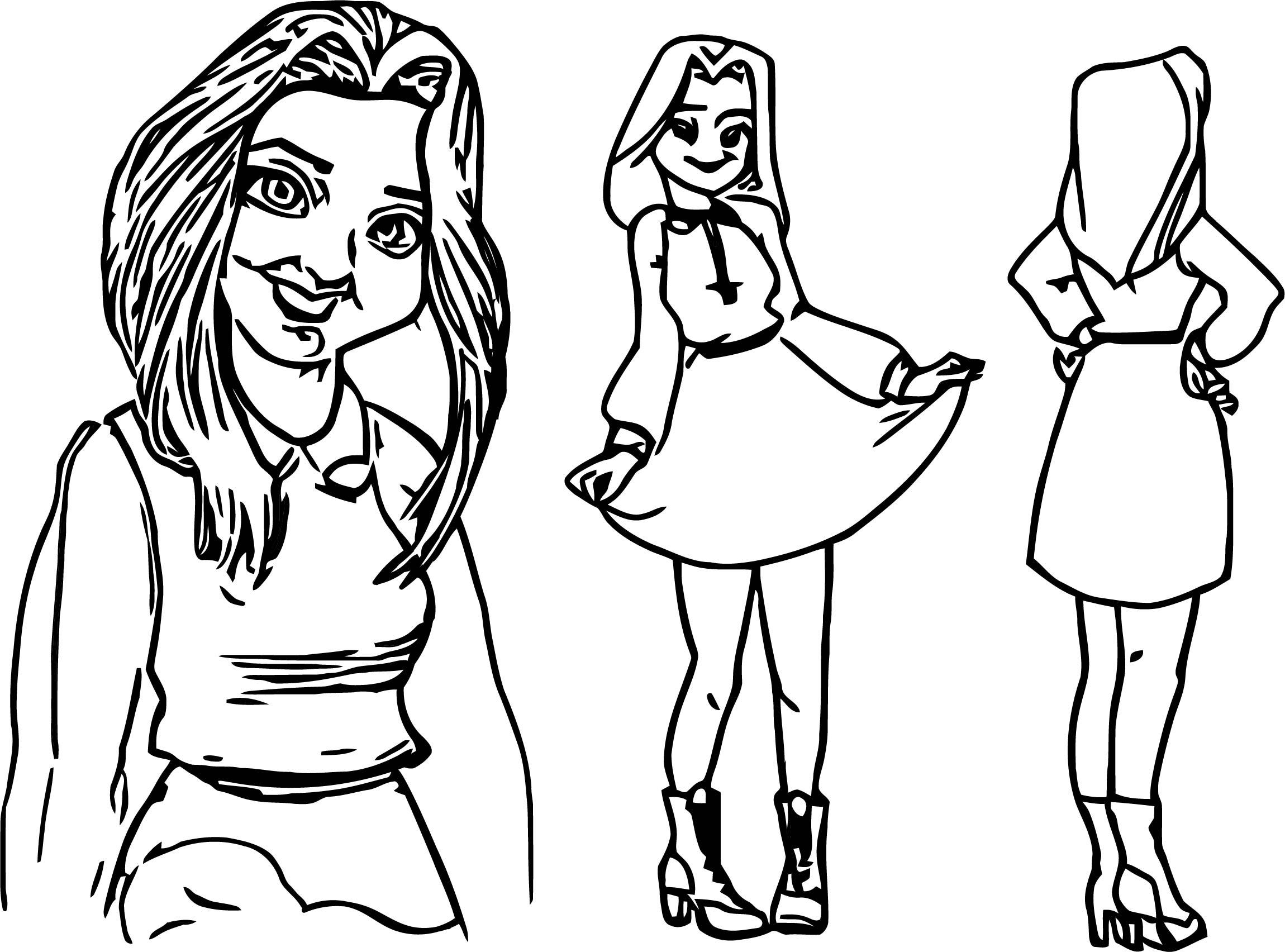 Character Design Sheet Yurla Girl Coloring Page