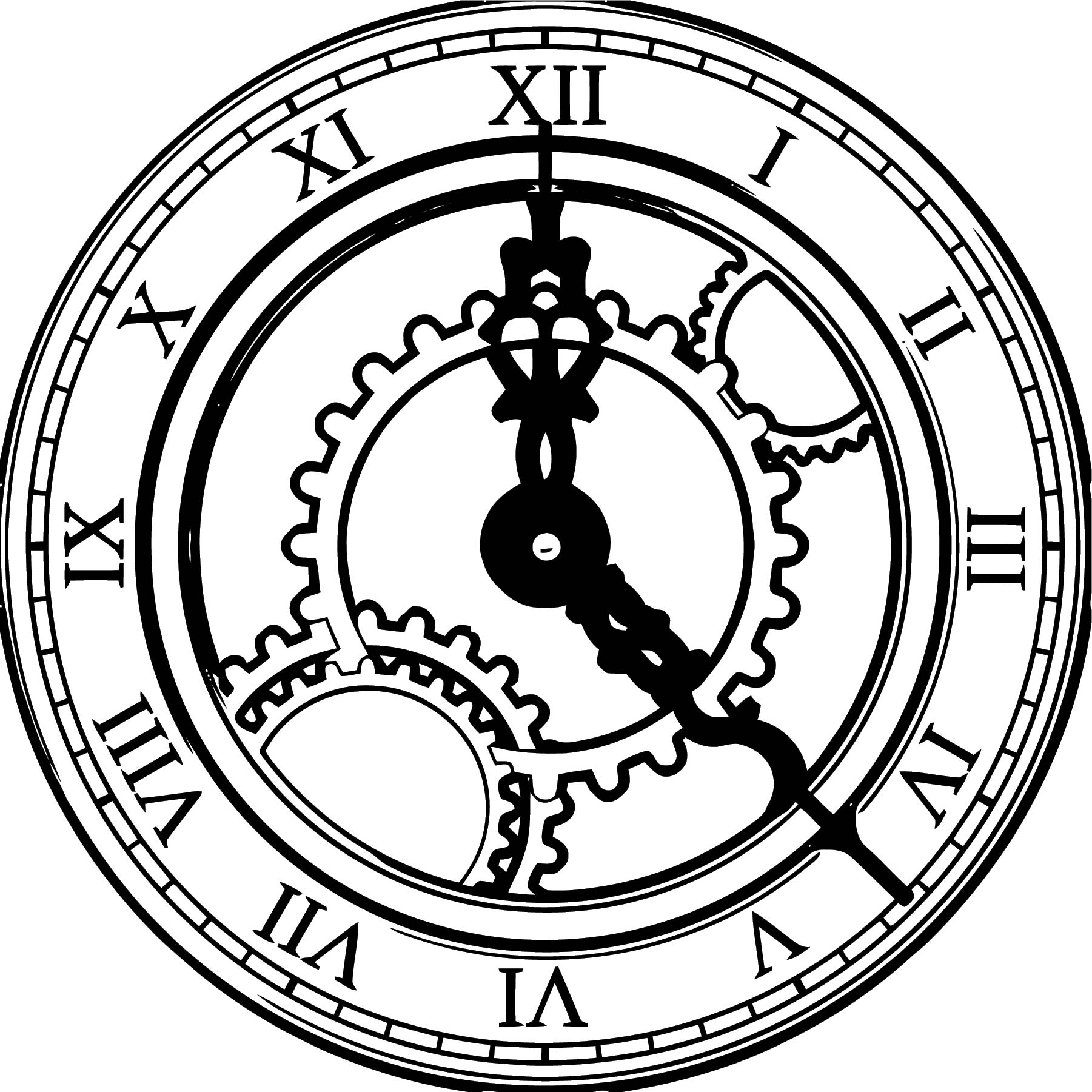 Clock Coloring Page WeColoringPage 070