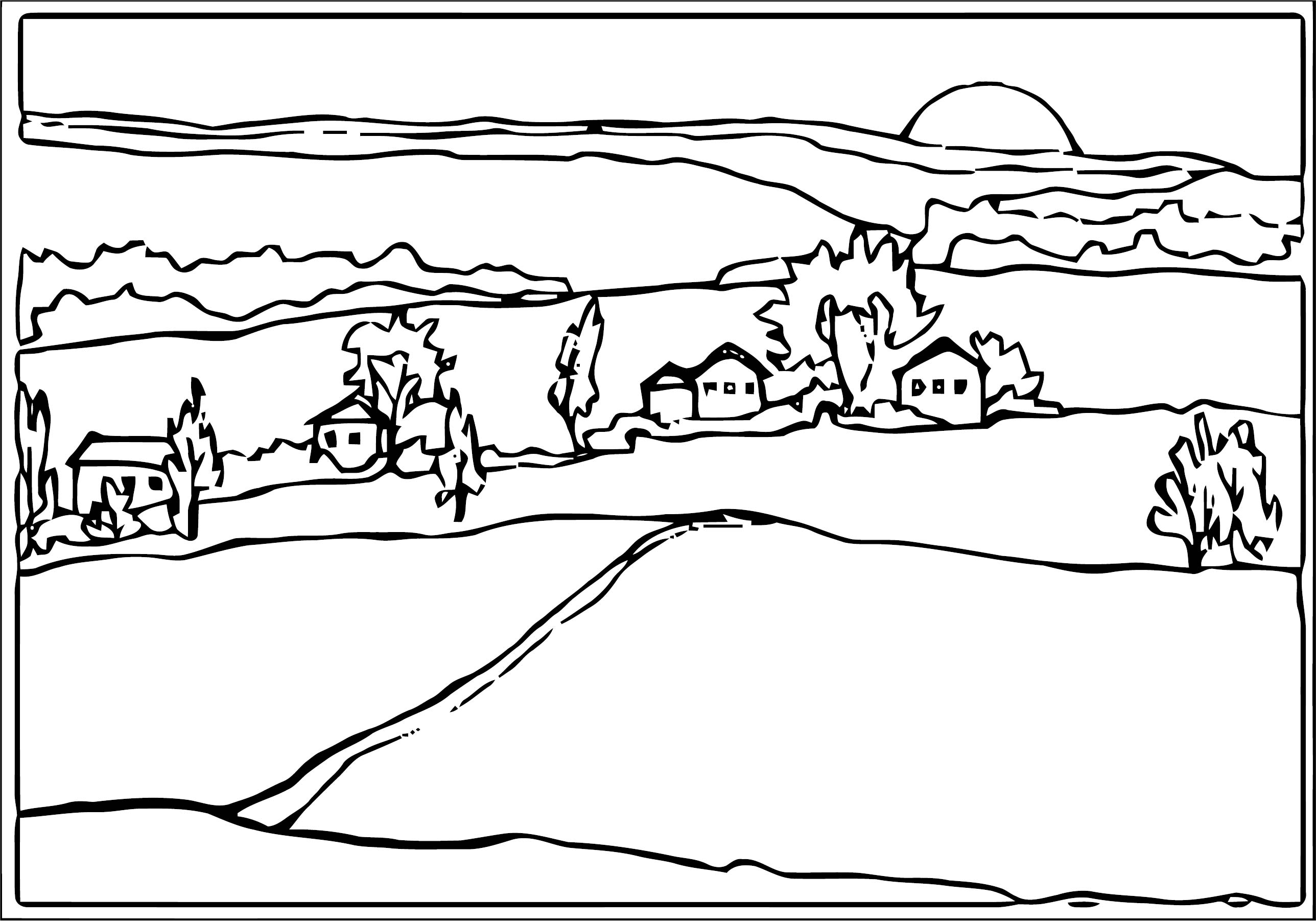 Country Homes Country Landscape Landscape Coloring Page