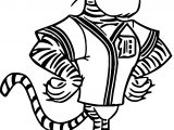 Detroit Tigers Mascot Character Design Cartoonized Coloring Page