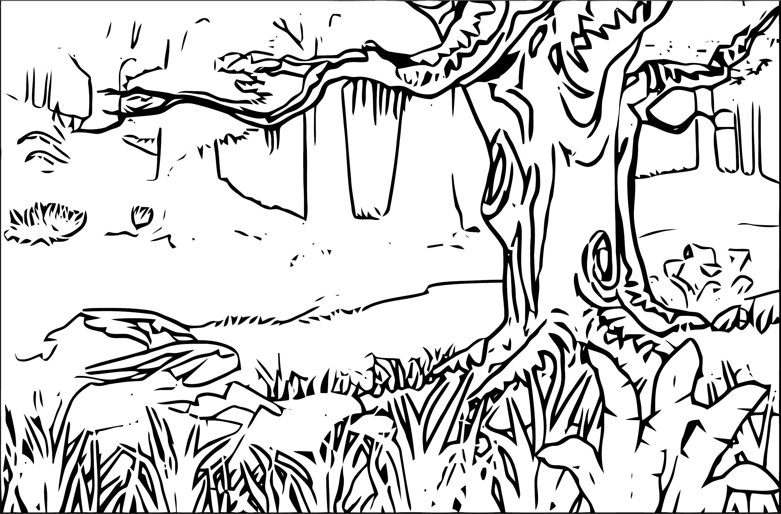 Free Forest Landscape Landscape Coloring Page