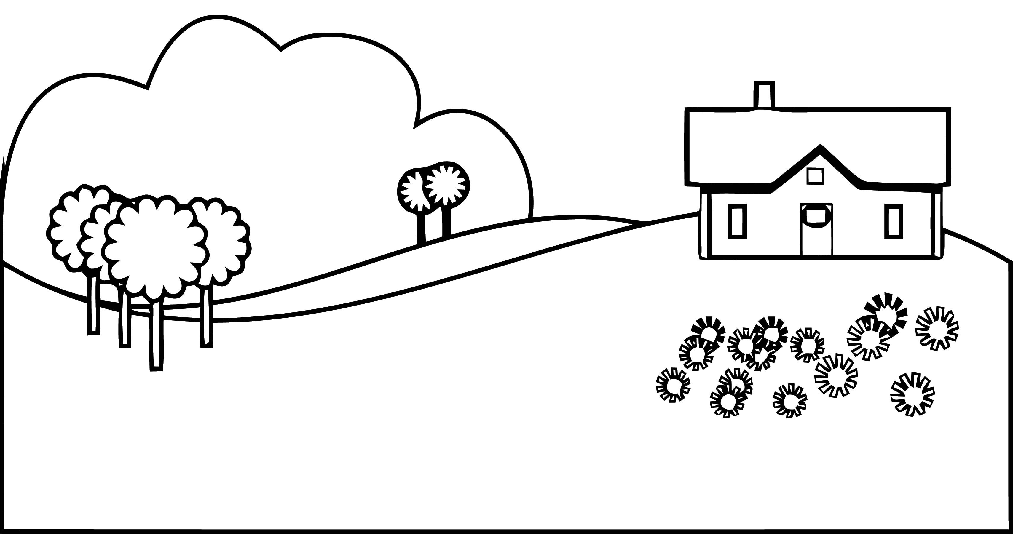 Home Treee Landscape Coloring Page