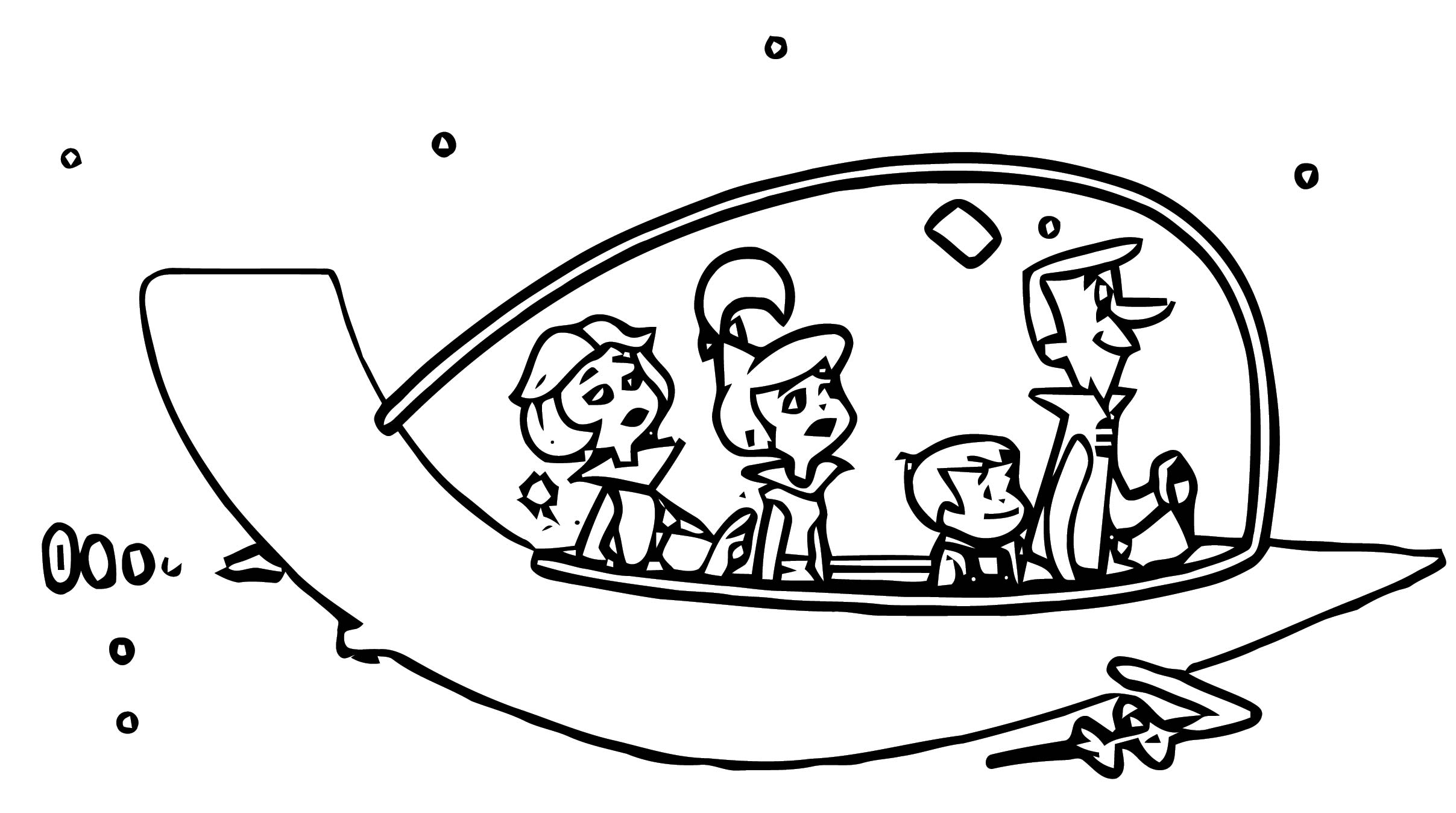 Jetsons Space Car Family Coloring Page