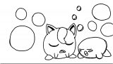 Jigglypuff And Kirby Sleeping Coloring Page