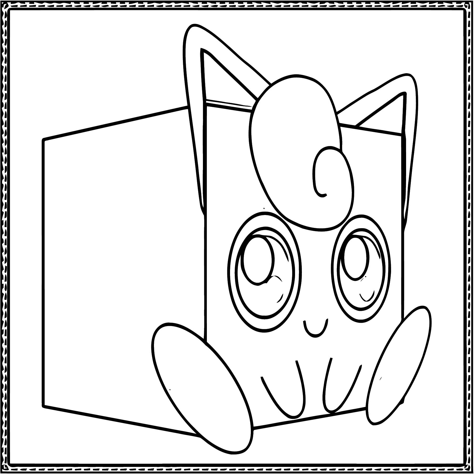 Jigglypuff Cube Craft Coloring Page