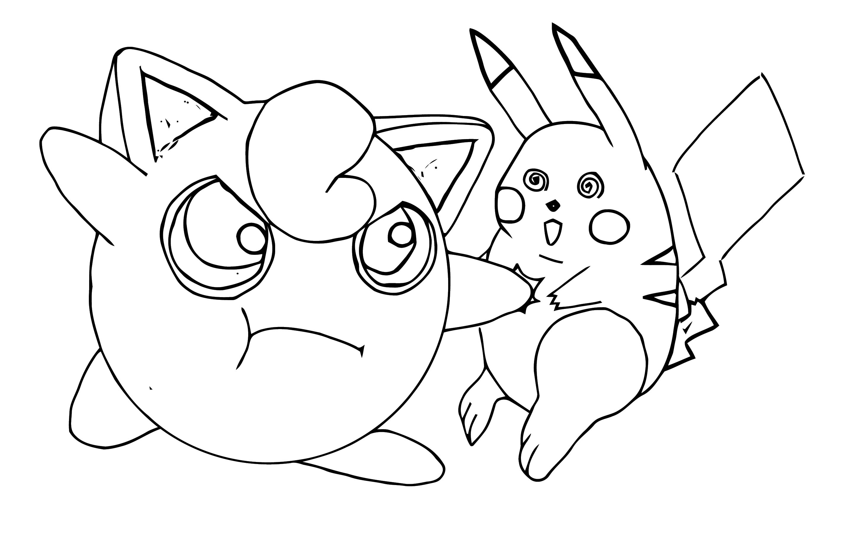 Jigglypuff Hates Pikachu Coloring Page