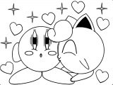 Kirby And Jigglypuff S Kiss Coloring Page