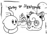 Kirby X Jigglypuff Coloring Page 1