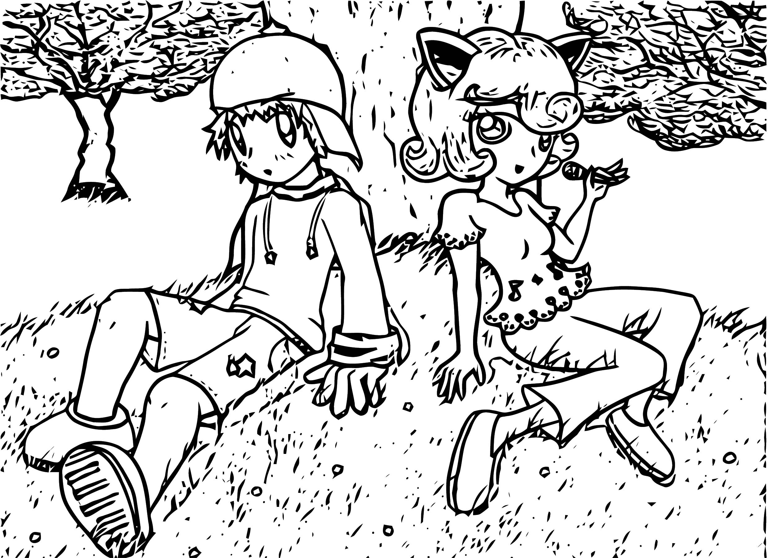Kirby X Jigglypuff Girl And Boy Coloring Page