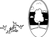 Landscaping Oval Tree Landscape Coloring Page