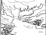 Pine Mountain River Landscape Coloring Page