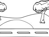 Road With Landscape Coloring Page