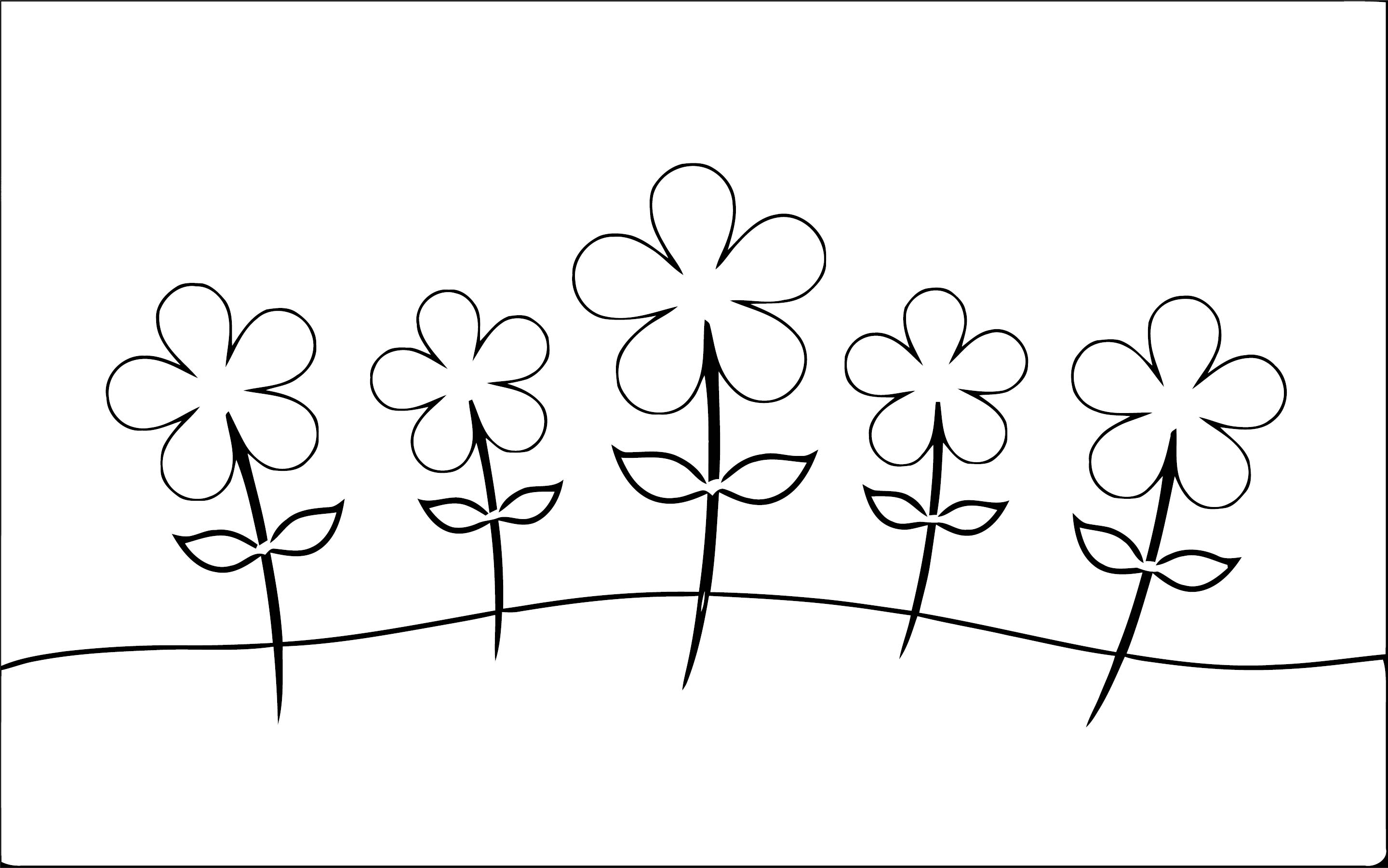 Spring Flowers Daisies Landscape Coloring Page