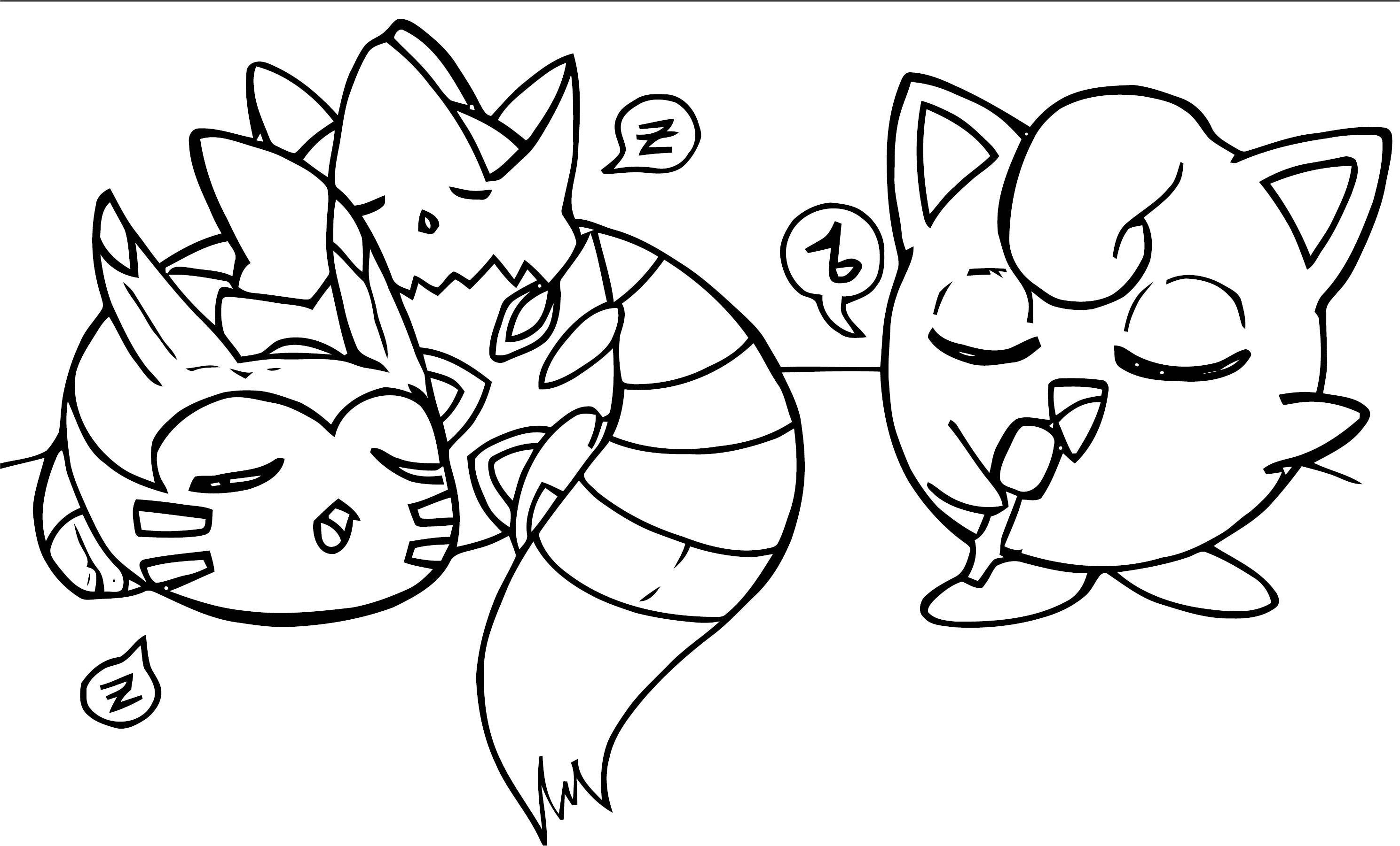 Togepi Furret And Jigglypuff Coloring Page