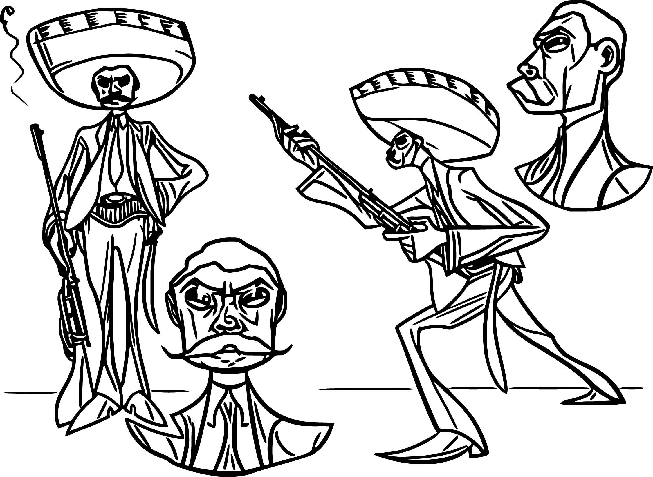 Zapata Cowboy Cartoonized Coloring Page